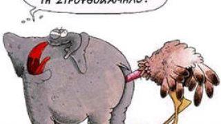 """Αρκάς: """"Σταματείστε να φοβίζετε την στρουθοκάμηλο!"""". (από Hank, 29/04/09)"""