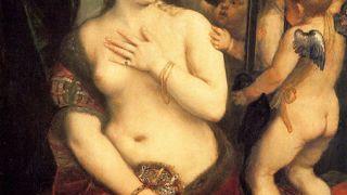 """Πίνακας του Tiziano Vecellio, που καύλωνε τον φον Μαζώχ και του ενέπνευσε τον τίτλο """"Αφροδίτη στις γούνες"""". (από Khan, 30/07/09)"""