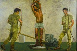 Παρτιζανότεκνα τοξεύουν γκοντότεκνο σε πίνακα του Γιάννη Τσαρούχη. (από Khan, 15/02/14)