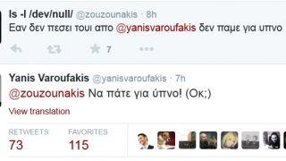 Λίγη ώρα μετά το τέλος της συνάντησης του Αλεξη Τσίπρα με τον Ζαν Κλοντ Γιούνκερ, ένας χρήστης του Twitter αναζήτησε τον Γιάνη Βαρουφάκη και η απάντηση του υπουργού ήταν αστραπιαία