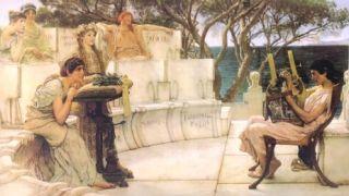 Σαπφώ και Αλκαίος, έργο του Lawrence Alma-Tadema, 1881